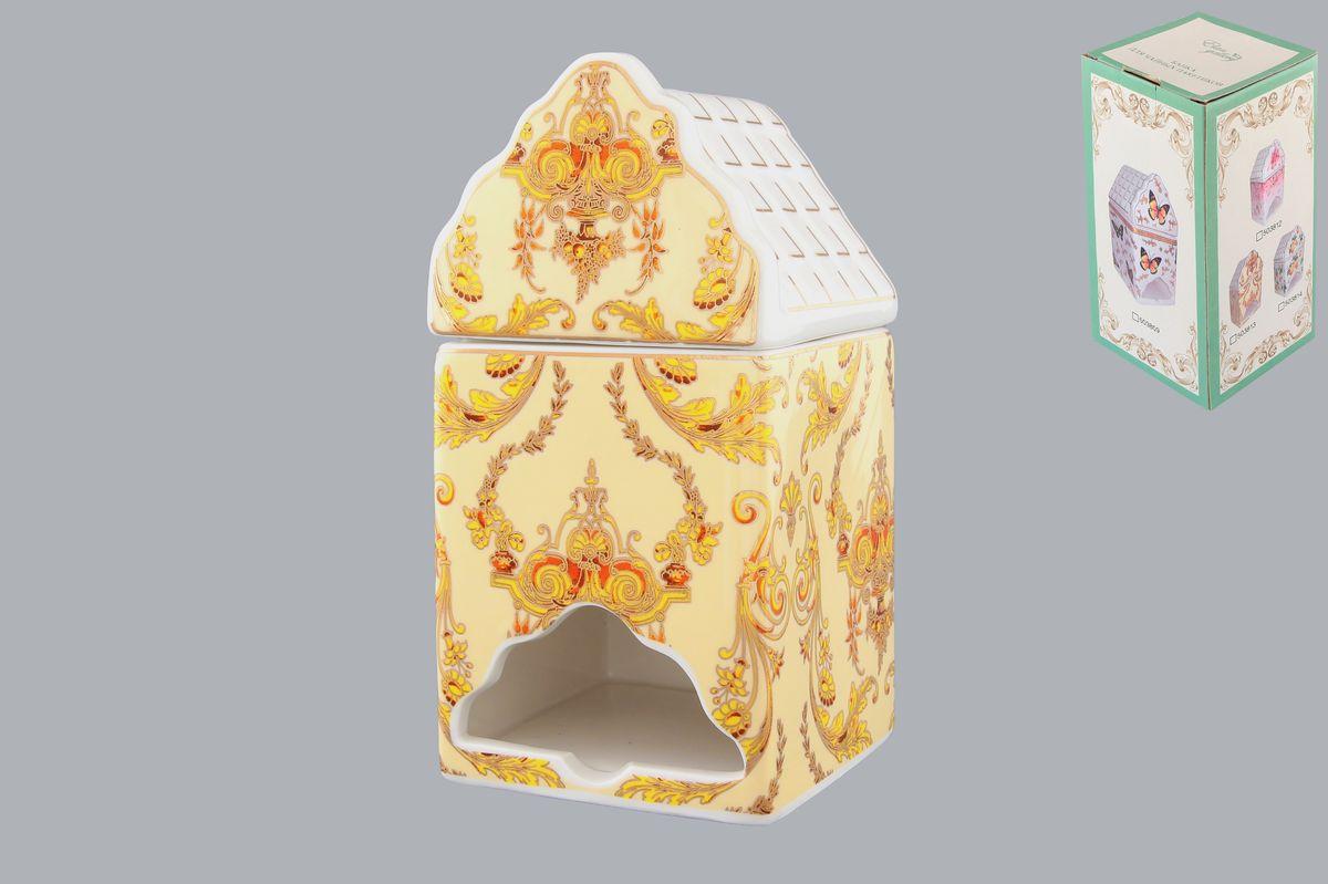 Банка-домик для чайных пакетиков Elan Gallery Узор503813Банка-домик для чайных пакетиков Elan Gallery Узор изготовлена из высококачественной керамики в виде домика, украшенного красивым узором. Банка оснащена удобной крышечкой и отверстием снизу, с помощью которого удобно доставать чайные пакетики. Такая оригинальная банка для хранения красиво оформит кухонный стол и удивит вас своей функциональностью. Размер (Д х Ш х В): 8,5 см х 8 см х 16,5 см.