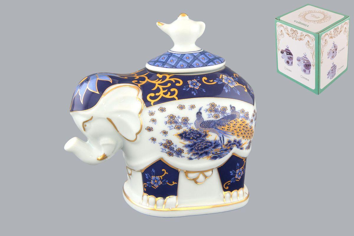 Чайница Elan Gallery Слон. Синий павлин, 350 мл503839Чайница Elan Gallery Слон. Синий павлин, изготовленная из высококачественной керамики, идеально подойдет для хранения вашего любимого сорта чая. Изделие выполненное в виде слона, оформлено оригинальным цветочным узорам и изображениям бабочек. Крышка декорирована оригинальной ручкой в виде чайника. Специальная силиконовая вставка на крышке не даст потерять чаю свой аромат. Такая чайница украсит интерьер вашей кухни и подчеркнет прекрасный вкус хозяина, а также станет отличным подарком к любому празднику. Размер чайницы (с учетом крышки): 12 см х 8 см х 11 см. Диаметр горлышка: 4 см.