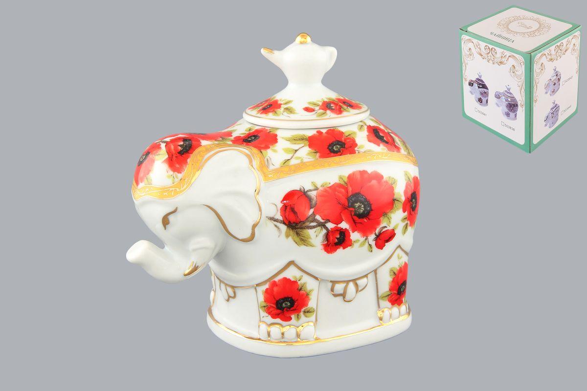 Чайница Elan Gallery Слон. Маки, 350 мл503843Чайница Elan Gallery Слон. Маки, изготовленная из высококачественной керамики, идеально подойдет для хранения вашего любимого сорта чая. Изделие выполненное в виде слона, оформлено оригинальным цветочным узорам и изображениям бабочек. Крышка декорирована оригинальной ручкой в виде чайника. Специальная силиконовая вставка на крышке не даст потерять чаю свой аромат. Такая чайница украсит интерьер вашей кухни и подчеркнет прекрасный вкус хозяина, а также станет отличным подарком к любому празднику. Размер чайницы (с учетом крышки): 12 см х 8 см х 11 см. Диаметр горлышка: 4 см.