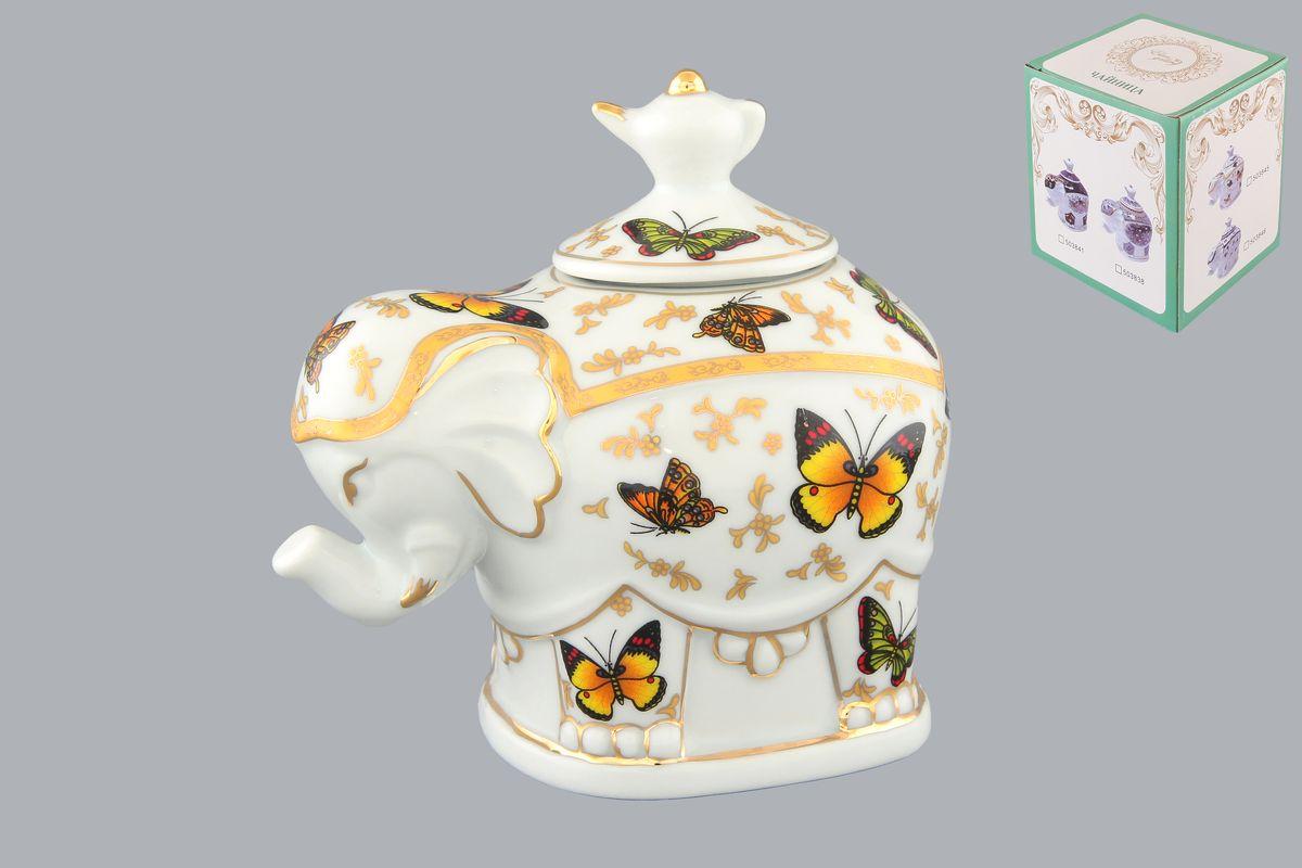 Чайница Elan Gallery Слон. Бабочки, 350 мл503845Чайница Elan Gallery Слон. Бабочки, изготовленная из высококачественной керамики, идеально подойдет для хранения вашего любимого сорта чая. Изделие выполненное в виде слона, оформлено оригинальным цветочным узорам и изображениям бабочек. Крышка декорирована оригинальной ручкой в виде чайника. Специальная силиконовая вставка на крышке не даст потерять чаю свой аромат. Такая чайница украсит интерьер вашей кухни и подчеркнет прекрасный вкус хозяина, а также станет отличным подарком к любому празднику. Размер чайницы (с учетом крышки): 12 см х 8 см х 11 см. Диаметр горлышка: 4 см.