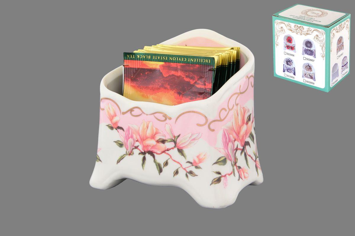 Подставка сервировочная для чайных пакетиков Elan Gallery Орхидея на розовом, цвет: белый, розовый, зеленый503963Подставка сервировочная для чайных пакетиков Elan Gallery Орхидея на розовом изготовлена из керамики, украшена ярким рисунком. У вас большая семья, вы любите пить разный чай. Подставка для чайных пакетиков это, что вам нужно. Теперь не нужно долго искать, какой чай вам выбрать. Просто положите пакетики с разным чаем в компактную и красивую подставку. Выберите ту, которая подойдет к вашему интерьеру. Высота подставки (по задней стенке): 10 см. Высота подставки (по передней стенке): 6 см. Длина: 7 см. Ширина: 10,5 см.