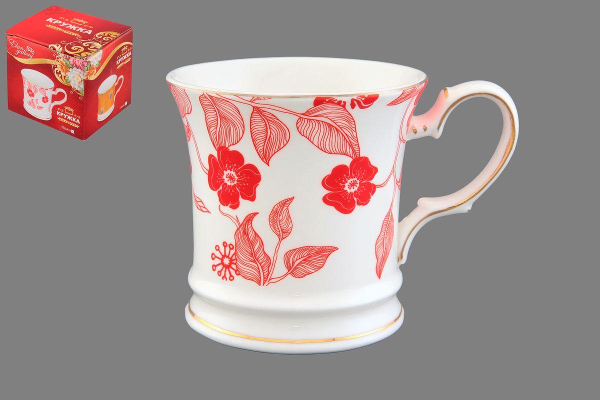 Кружка Elan Gallery Красный цветок на белом, 170 мл730400Кружка Elan Gallery Красный цветок на белом выполнена из керамики и оформлена красочным рисунком. Она станет отличным дополнением к сервировке семейного стола и замечательным подарком для ваших родных и друзей. Не рекомендуется применять абразивные моющие средства. Не использовать в микроволновой печи.