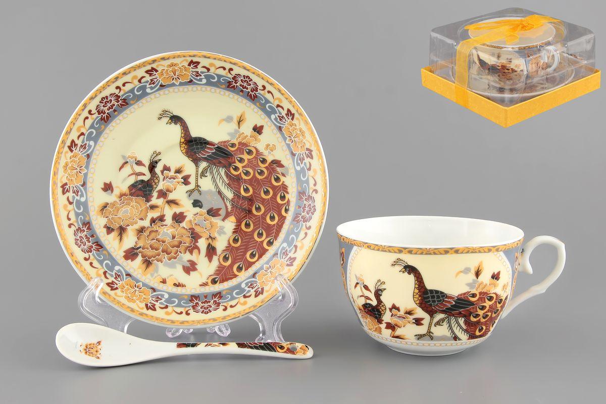 Чайная пара Павлин на бежевом 250 мл. 2 предмета с ложкой расклешенная чашка в подарочной упаковке . 730471730471Чайный набор на 1 персону украсит Ваше чаепитие. В комплекте 1 чашка объемом 250 мл, 1 блюдце, 1 ложка. Изделие имеет подарочную упаковку из полипропилена с бантиком, поэтому станет желанным подарком для Ваших близких!