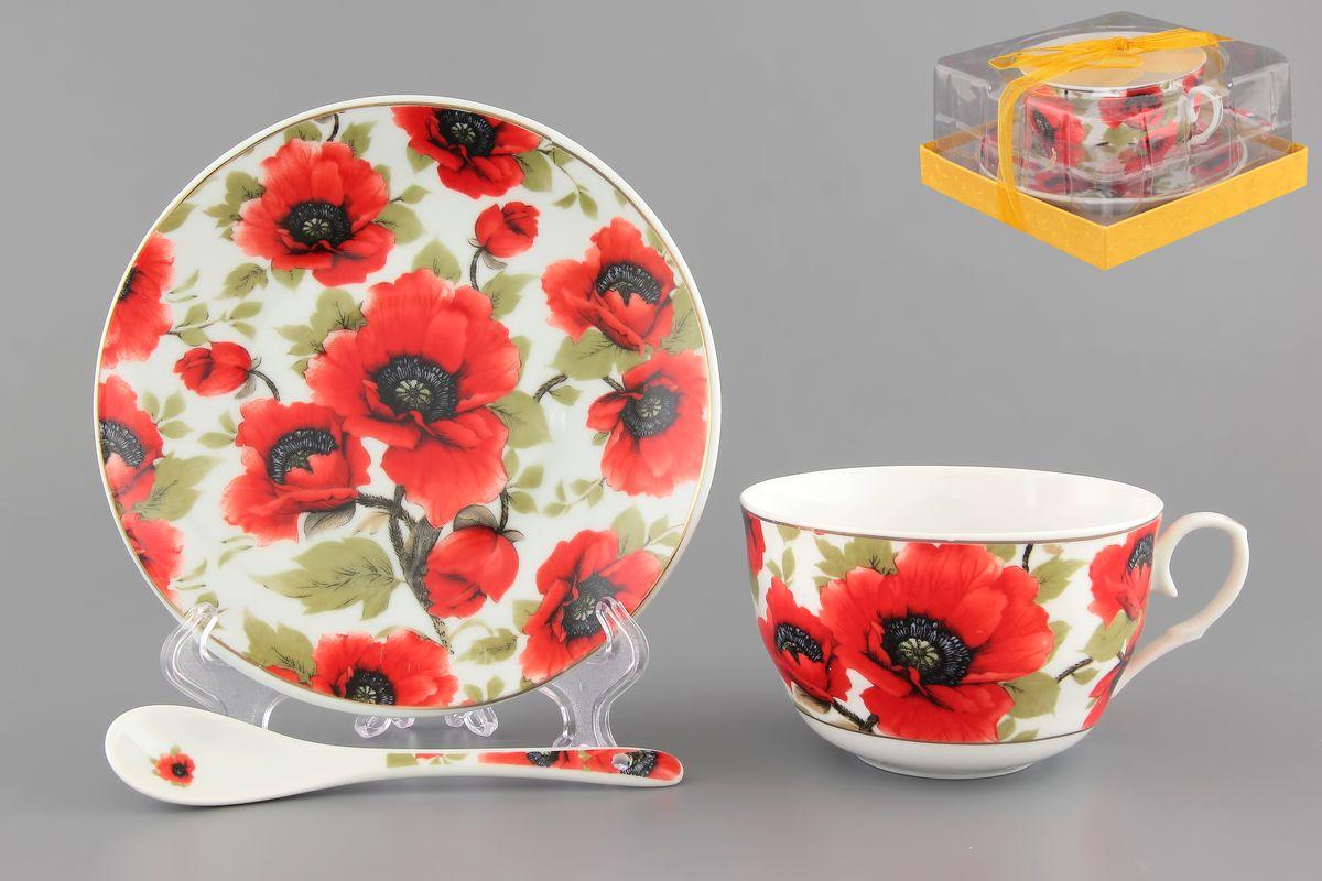 Чайная пара Elan Gallery Маки, 250 мл, 3 предмета730477Чайная пара Elan Gallery Маки состоит из чашки, блюдца и ложечки, изготовленных из высококачественной керамики. Предметы набора оформлены изящным цветочным рисунком. Чайная пара Elan Gallery Маки украсит ваш кухонный стол, а также станет замечательным подарком друзьям и близким. Изделие упаковано в подарочную коробку с атласной лентой. Объем чашки: 250 мл. Диаметр чашки по верхнему краю: 9,5 см. Высота чашки: 6 см. Диаметр блюдца: 14 см. Длина ложки: 13 см.