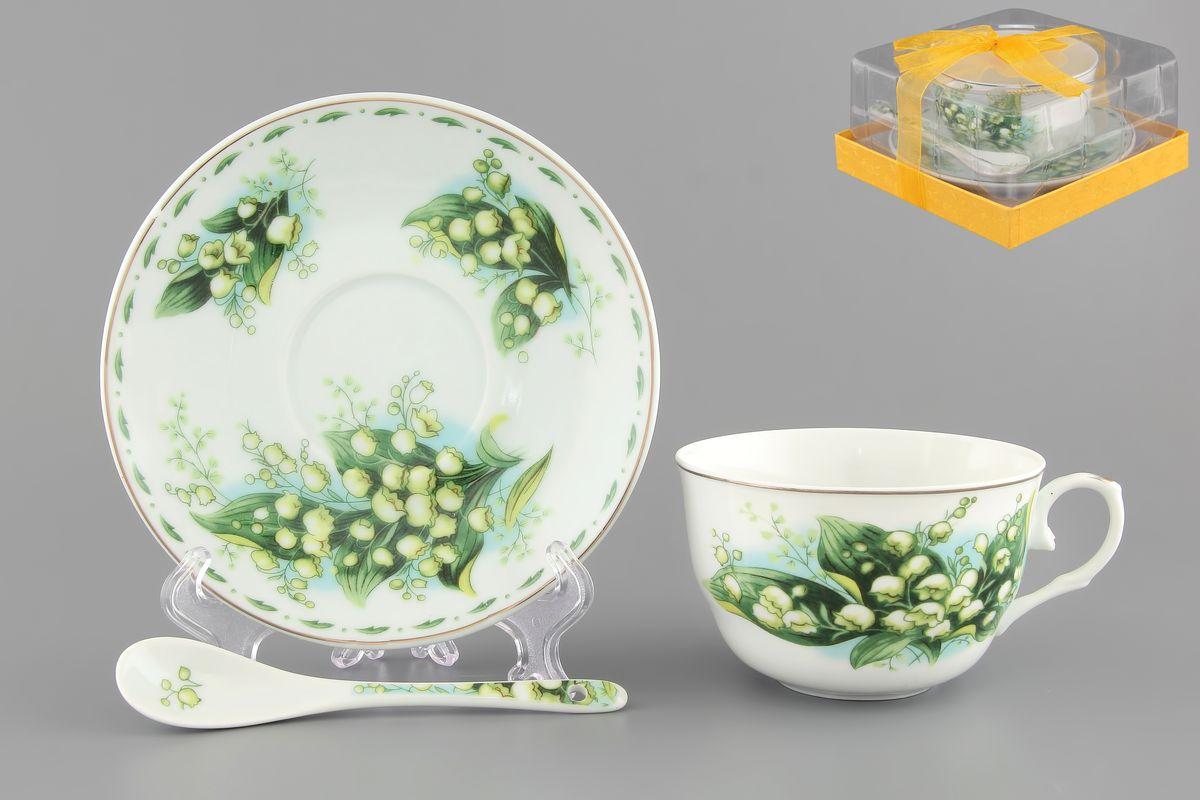 Чайная пара Ландыши 250 мл. 2 предмета с ложкой расклешенная чашка в подарочной упаковке . 730486730486Чайный набор на 1 персону украсит Ваше чаепитие. В комплекте 1 чашка объемом 250 мл, 1 блюдце, 1 ложка. Изделие имеет подарочную упаковку из полипропилена с бантиком, поэтому станет желанным подарком для Ваших близких!