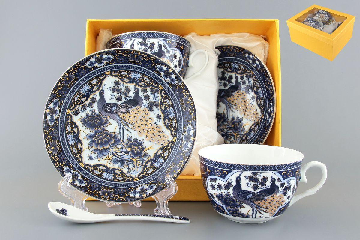 Чайная пара Павлин синий 250 мл. 4 предмета с ложками расклешенная чашка в подарочной упаковке . 730490730490Чайный набор на 2 персоны украсит Ваше чаепитие. В комплекте 2 чашки объемом 250 мл, 2 блюдца, 2 ложки. Изделие имеет подарочную упаковку, поэтому станет желанным подарком для Ваших близких!