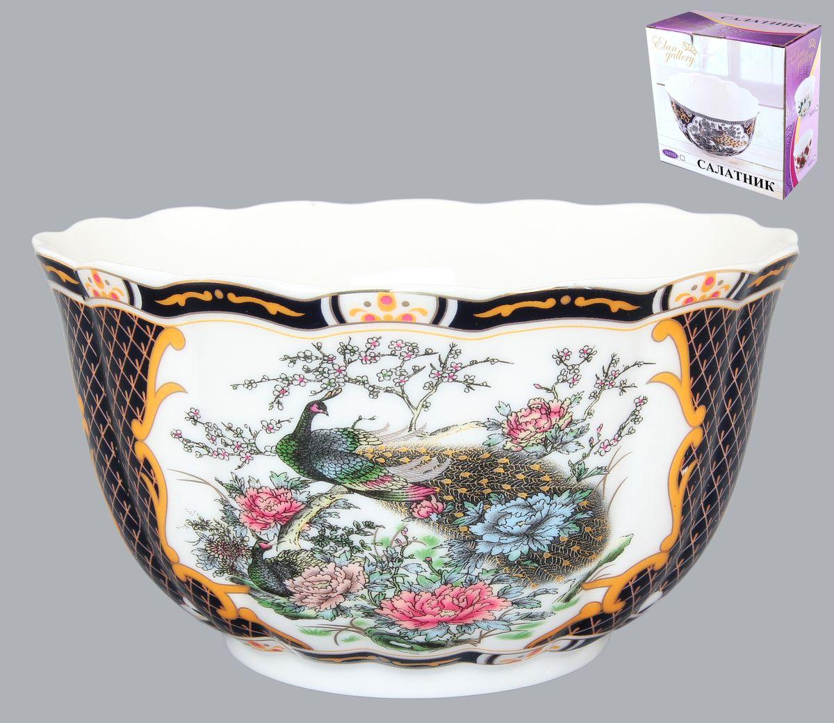 Салатник Elan Gallery Павлин, 850 мл740123Великолепный салатник с волнистым краем Elan Gallery Павлин, изготовленный из высококачественной керамики, прекрасно подойдет для подачи различных блюд: закусок, салатов или фруктов. Такой салатник украсит ваш праздничный или обеденный стол, а оригинальное исполнение понравится любой хозяйке. Диаметр салатника (по верхнему краю): 16 см. Высота салатника: 9 см. Объем салатника: 850 мл.