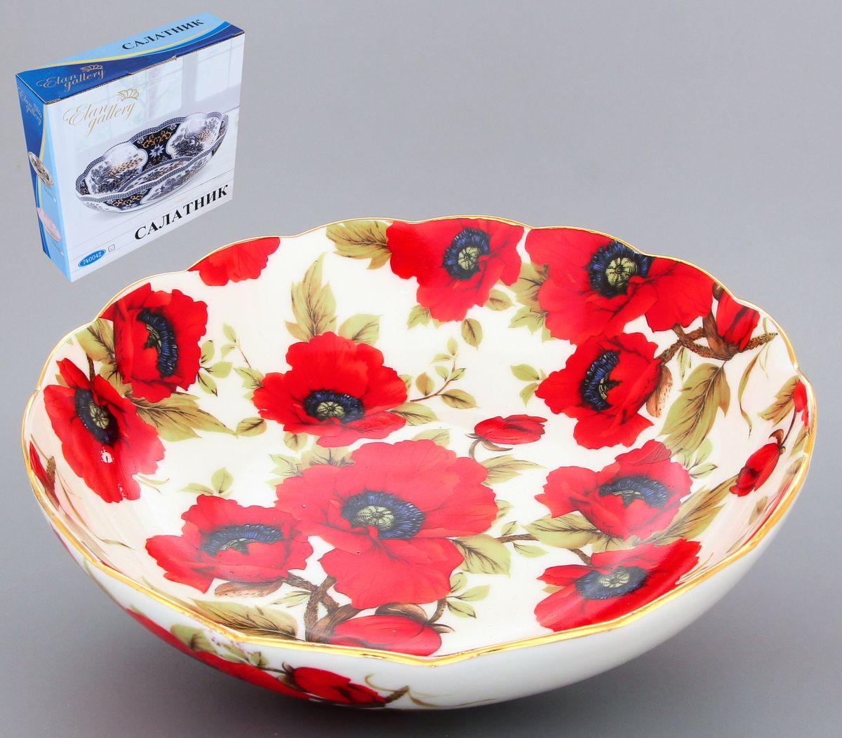 Салатник Elan Gallery Маки, 750 мл740127Великолепный салатник с волнистым краем Elan Gallery Маки, изготовленный из высококачественной керамики, прекрасно подойдет для подачи различных блюд: закусок, салатов или фруктов. Такой салатник украсит ваш праздничный или обеденный стол, а оригинальное исполнение понравится любой хозяйке. Диаметр салатника (по верхнему краю): 20 см. Высота салатника: 5,5 см. Объём салатника: 750 мл.