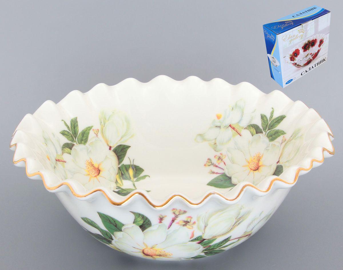 Салатник Elan Gallery Белый шиповник, 800 мл740129Великолепный салатник с волнистым краем Elan Gallery Белый шиповник, изготовленный из высококачественной керамики, прекрасно подойдет для подачи различных блюд: закусок, салатов или фруктов. Такой салатник украсит ваш праздничный или обеденный стол, а оригинальное исполнение понравится любой хозяйке. Диаметр салатника (по верхнему краю): 20 см. Высота салатника: 9 см. Объем салатника: 800 мл.