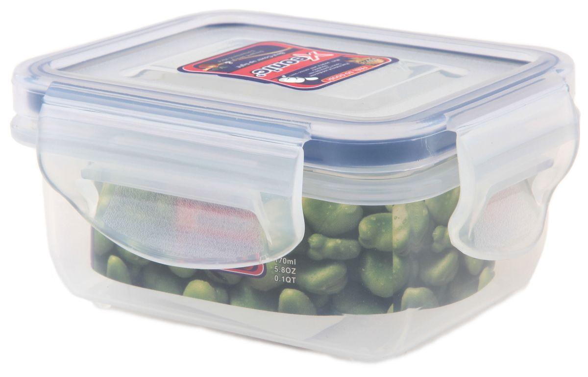 Контейнер Xeonic, цвет: прозрачный, синий, 160 мл810007Пластиковые герметичные контейнеры для хранения продуктов Xeonic произведены из высококачественных материалов, имеют 100% герметичность, термоустойчивы, могут быть использованы в микроволновой печи и в морозильной камере, устойчивы к воздействию масел и жиров, не впитывают запах. Удобны в использовании, долговечны, легко открываются и закрываются, не занимают много места, можно мыть в посудомоечной машине. Размер: 8,5 см х 6,5 см х 4 см.