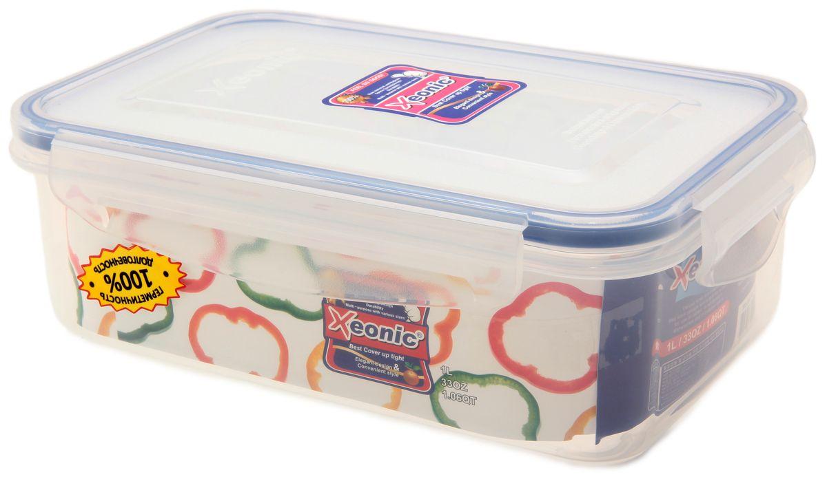 Контейнер Xeonic, цвет: прозрачный, синий, 1 л. 810018810018Пластиковые герметичные контейнеры для хранения продуктов Xeonic произведены из высококачественных материалов, имеют 100% герметичность, термоустойчивы, могут быть использованы в микроволновой печи и в морозильной камере, устойчивы к воздействию масел и жиров, не впитывают запах. Удобны в использовании, долговечны, легко открываются и закрываются, не занимают много места, можно мыть в посудомоечной машине. Размер: 18 см х 11 см х 6 см.