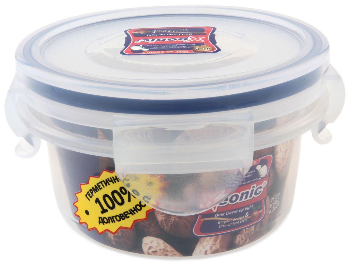 Контейнер пищевой Xeonic, 250 мл810031Герметичный контейнер для хранения продуктов Xeonic произведен из высококачественного полипропилена. Изделие термоустойчиво, может быть использовано в микроволновой печи и в морозильной камере, устойчиво к воздействию масел и жиров, не впитывают запах. Контейнер удобен в использовании, долговечен, легко открывается и закрывается. Герметичность обеспечивается четырьмя защелками и силиконовой прослойкой на крышке. Контейнер компактен и не займет много места. Можно мыть в посудомоечной машине. Диаметр по верхнему краю: 9,5 см. Диаметр дна: 7,5 см. Высота с учетом крышки: 6,2 см.
