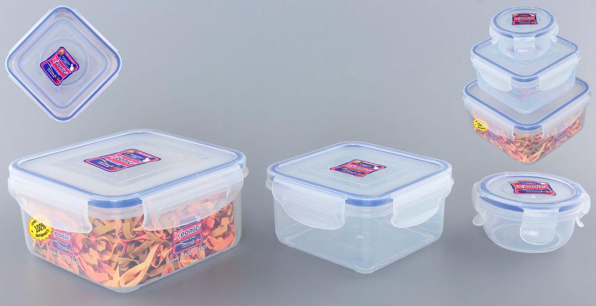 Набор контейнеров Xeonic, цвет: прозрачный, синий, 3 шт810200Набор контейнеров Xeonic состоит из трех контейнеров, предназначенных для хранения и транспортировки пищи. Изделия выполнены из высококачественного пищевого полипропилена. Крышки с силиконовой вставкой герметично защелкиваются специальным механизмом. Контейнеры удобно складываются друг в друга, что экономит пространство при хранении в шкафу. Можно мыть в посудомоечной машине и использовать в СВЧ. Объем контейнеров: 90 мл, 450 мл, 830 мл. Размер контейнеров (по верхнему краю): 8 см х 8 см; 11,5 см х 11,5 см; 14 см х 14 см. Высота контейнеров: 5,5 см; 6 см; 7,5 см.