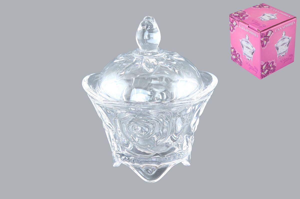 Сахарница Elan Gallery Розы, с крышкой, 100 мл890007Компактная сахарница на ножках с рисунком из роз изготовлена из прозрачного стекла. Придаст легкость и воздушность сервировке стола и создаст особую атмосферу праздника. Сахар, мед, изюм, орехи будут необыкновенно красиво смотреться в ней, и вы всегда можете увидеть, сколько продукта осталось в емкости. Не важно, какая у вас посуда - в цветочек, белая, цветная, в горошек или полоску, посуда из стекла подойдет к любой. Диаметр сахарницы (по верхнему краю): 9 см. Диаметр основания: 5,5 см. Высота сахарницы (без учета крышки): 6,5 см. Высота сахарницы (с учетом крышки): 11,5 см. Объем сахарницы: 100 мл.