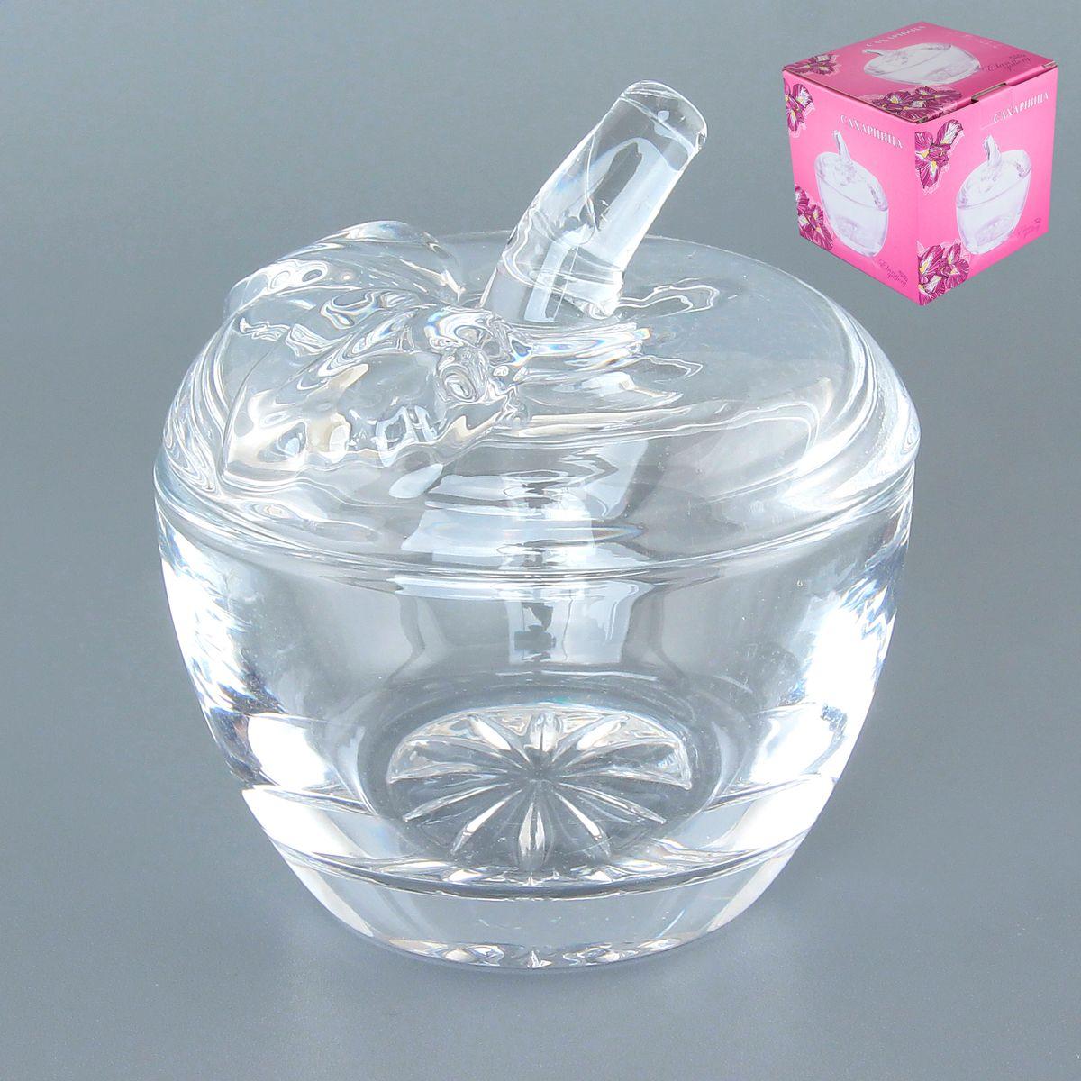 Сахарница Elan Gallery Яблоко, с крышкой, 250 мл890083Оригинальная сахарница в форме яблока изготовлена из прозрачного стекла. Придаст легкость и воздушность сервировке стола и создаст особую атмосферу праздника. Сахар, мед, изюм, орехи будут необыкновенно красиво смотреться в ней, и вы всегда можете увидеть, сколько продукта осталось в емкости. Не важно, какая у вас посуда - в цветочек, белая, цветная, в горошек или полоску, посуда из стекла подойдет к любой. Диаметр сахарницы (по верхнему краю): 10 см. Диаметр основания: 6 см. Высота сахарницы (без учета крышки): 7 см. Высота сахарницы (с учетом крышки): 11 см. Объем сахарницы: 250 мл.