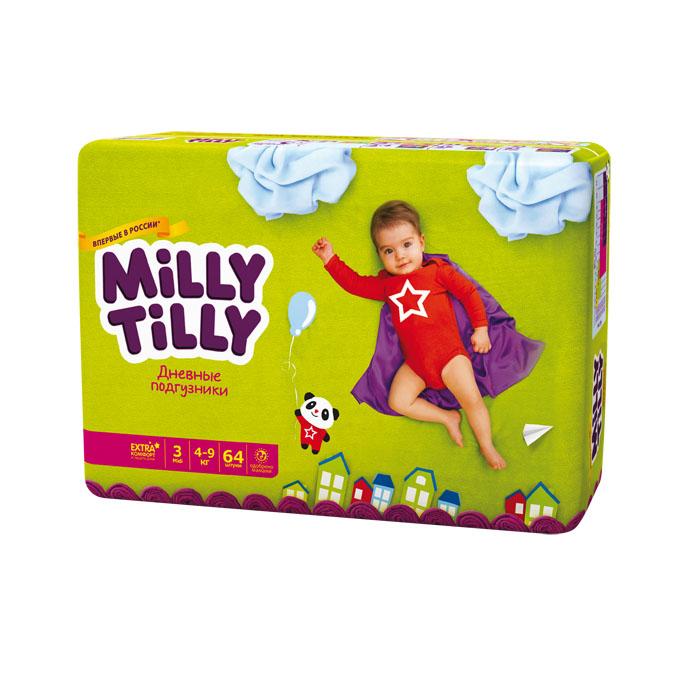 Milly Tilly Подгузники дневные Midi, 4-9 кг, 64 шт0104Нежный материал дневного подгузника Milly Tilly в виде сот прилегает к коже и дарит малышу невероятный комфорт. Данная структура верхнего слоя в виде сот позволяет свободно циркулировать воздуху внутри подгузника. Эластичные поясочки надежно фиксируют его, при этом не стесняют движений малыша. Нежные оборочки сделаны из трех мягких резиночек, которые не натирают ножки. Застежки Magic Fix - настолько крепкие, что их можно пристёгивать и отстёгивать много раз для лучшей фиксации. Система Liquid Security позволяет равномерно распределять влагу, без комочков. Кожа малыша надолго остаётся сухой и нежной. Цифры на пояске помогут симметрично застегнуть подгузник. На каждом подгузнике смешной герой развеселит малыша и поднимет настроение маме. Проверено дерматологами.