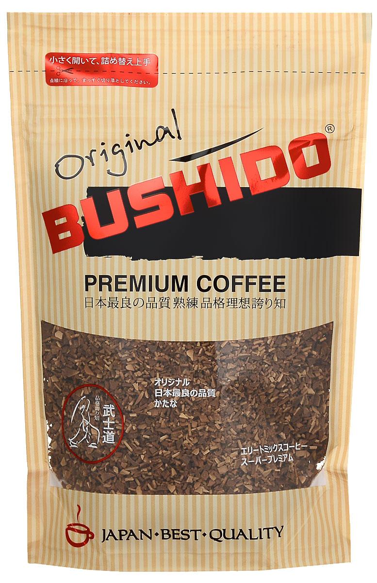 Bushido Original кофе растворимый, 85 г7610121710899Bushido Original изготовлен из собранной вручную южноамериканской арабики, обладает оригинальным вкусом, тонким ароматом и долгим послевкусием.