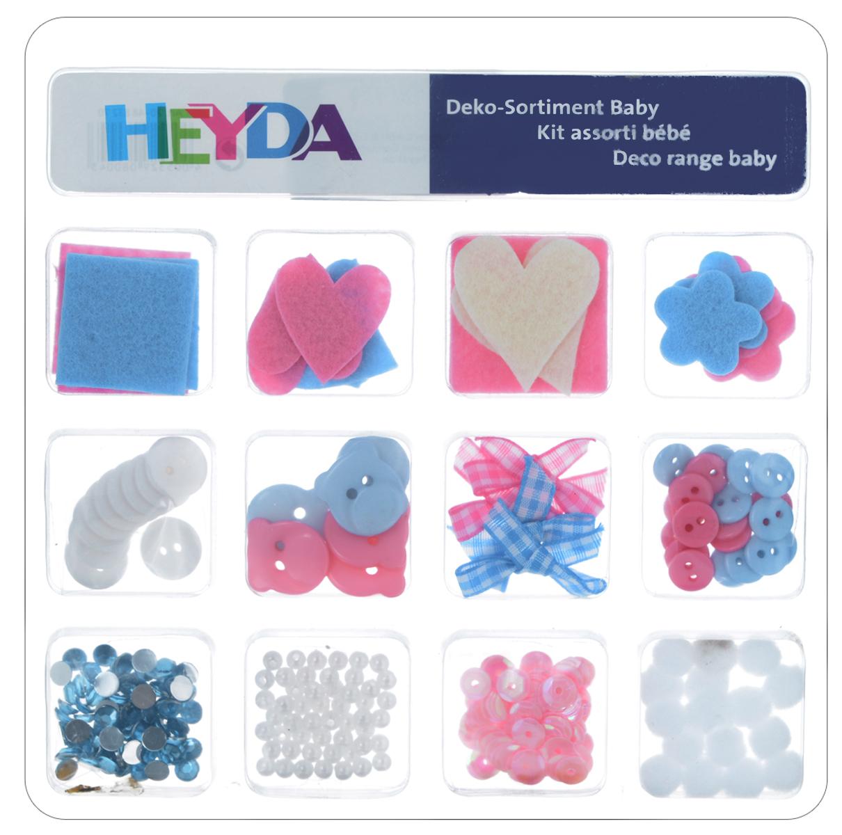 Декоративный набор для скрапбукинга Heyda Baby, 12 дизайнов204883270Набор Heyda Baby позволит оригинально украсить работы в стиле скрапбукинг. Вы сможете создать красивый альбом, фоторамку или открытку ручной работы, оформить подарок или аппликацию. В наборе - различные элементы декора 12 дизайнов (ленты, бусины, пайетки, стразы, пуговицы, фигурки из фетра). Скрапбукинг - это хобби, которое способно приносить массу приятных эмоций не только человеку, который этим занимается, но и его близким, друзьям, родным. Это невероятно увлекательное занятие, которое поможет вам сохранить наиболее памятные и яркие моменты вашей жизни, а также интересно оформить интерьер дома. Средний размер декоративных фигурок: 2 см х 2,5 см. Средний диаметр декоративных пуговиц: 1 см.