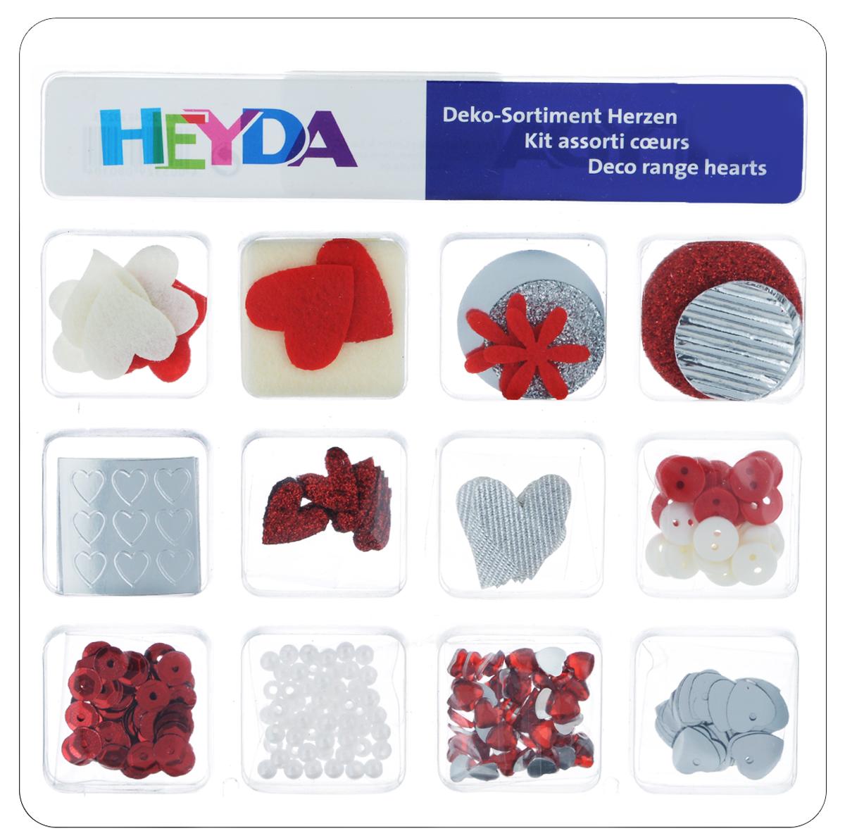 Декоративный набор для скрапбукинга Heyda Hearts, 12 дизайнов204883273Набор Heyda Hearts позволит оригинально украсить работы в стиле скрапбукинг. Вы сможете создать красивый альбом, фоторамку или открытку ручной работы, оформить подарок или аппликацию. В наборе - различные элементы декора 12 дизайнов (стикеры, бусины, пайетки, стразы, пуговицы, фигурки из бумаги и фетра). Скрапбукинг - это хобби, которое способно приносить массу приятных эмоций не только человеку, который этим занимается, но и его близким, друзьям, родным. Это невероятно увлекательное занятие, которое поможет вам сохранить наиболее памятные и яркие моменты вашей жизни, а также интересно оформить интерьер дома. Средний размер декоративных фигурок: 2 см х 2 см.