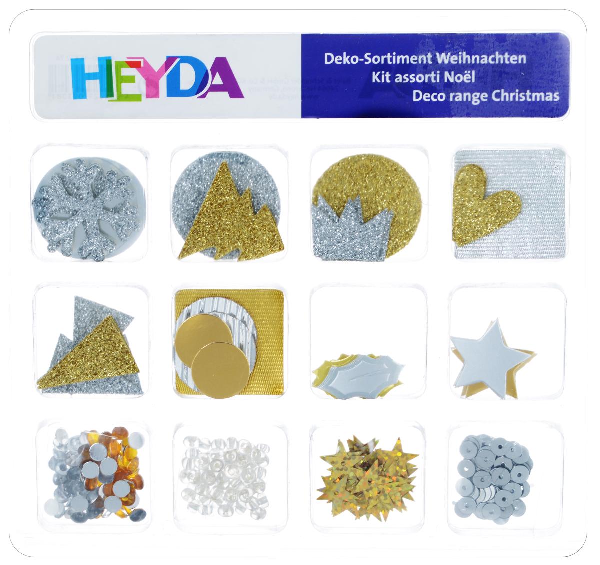 Декоративный набор для скрапбукинга Heyda Christmas, 12 дизайнов204883274Набор Heyda Christmas позволит оригинально украсить работы в стиле скрапбукинг. Вы сможете создать красивый альбом, фоторамку или открытку ручной работы, оформить подарок или аппликацию. В наборе - различные элементы декора 12 дизайнов (стикеры, бусины, стразы, пайетки, фигурки из бумаги). Скрапбукинг - это хобби, которое способно приносить массу приятных эмоций не только человеку, который этим занимается, но и его близким, друзьям, родным. Это невероятно увлекательное занятие, которое поможет вам сохранить наиболее памятные и яркие моменты вашей жизни, а также интересно оформить интерьер дома. Средний размер декоративных фигурок: 2 см х 2 см.