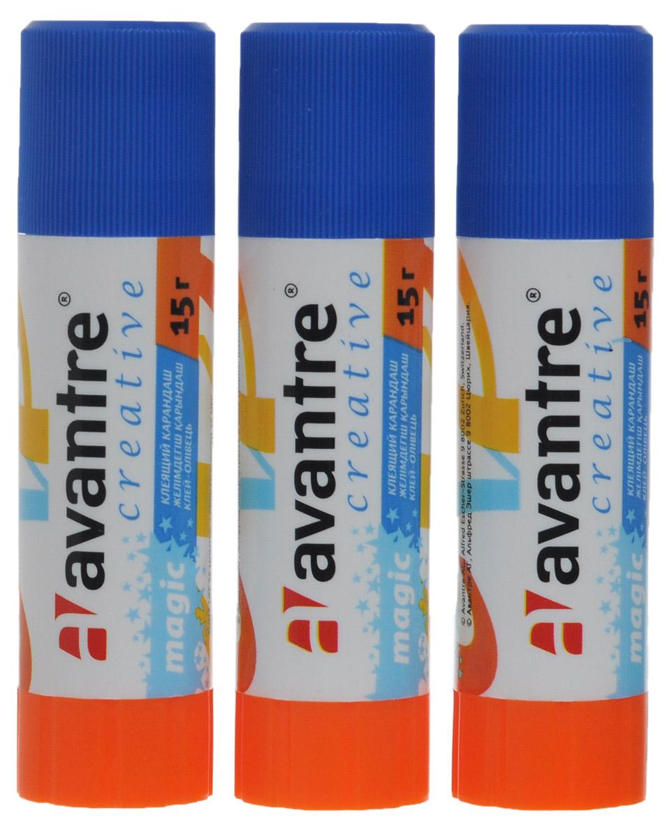 Avantre Клей-карандаш Creative 3 штGLST0215BT3Клей-карандаш Avantre Creative незаменим в доме, школе и офисе. Он легко наносится, надежно склеивает бумагу и фотографии, не деформируя поверхность. Клей долго хранится, не имеет запаха и отстирывается с большинства тканей. Выкручивающийся механизм обеспечивает постепенное выдвижение клеящего стержня из пластикового корпуса. В комплект входят 3 клея. Характеристики: Масса клея: 15 г. Размер: 9 см x 2 см x 2 см.