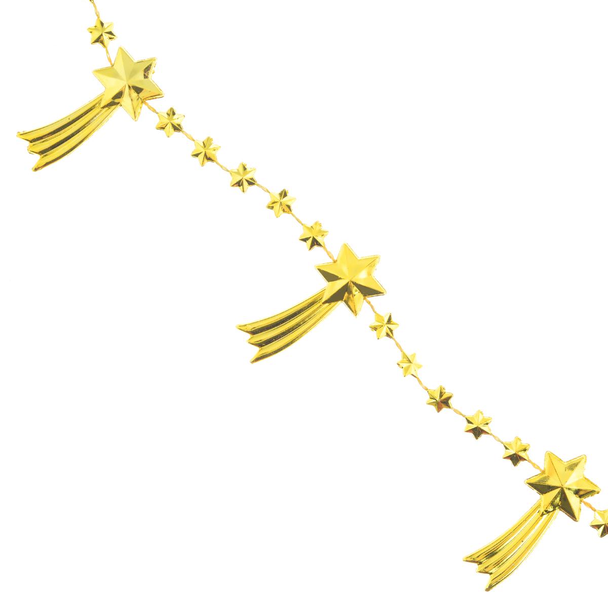 Новогодняя гирлянда Lunten Ranta Кометы, цвет: золотистый, длина 2 м65594Новогодняя гирлянда Lunten Ranta Кометы отлично подойдет для декорации вашего дома и новогодней ели. Изделие, выполненное из пластика, представляет собой гирлянду на текстильной нити, на которой нанизаны фигурки в виде падающих звезд. Новогодние украшения несут в себе волшебство и красоту праздника. Они помогут вам украсить дом к предстоящим праздникам и оживить интерьер по вашему вкусу. Создайте в доме атмосферу тепла, веселья и радости, украшая его всей семьей. Размер фигурки: 4 см х 1,7 см х 0,4 см.