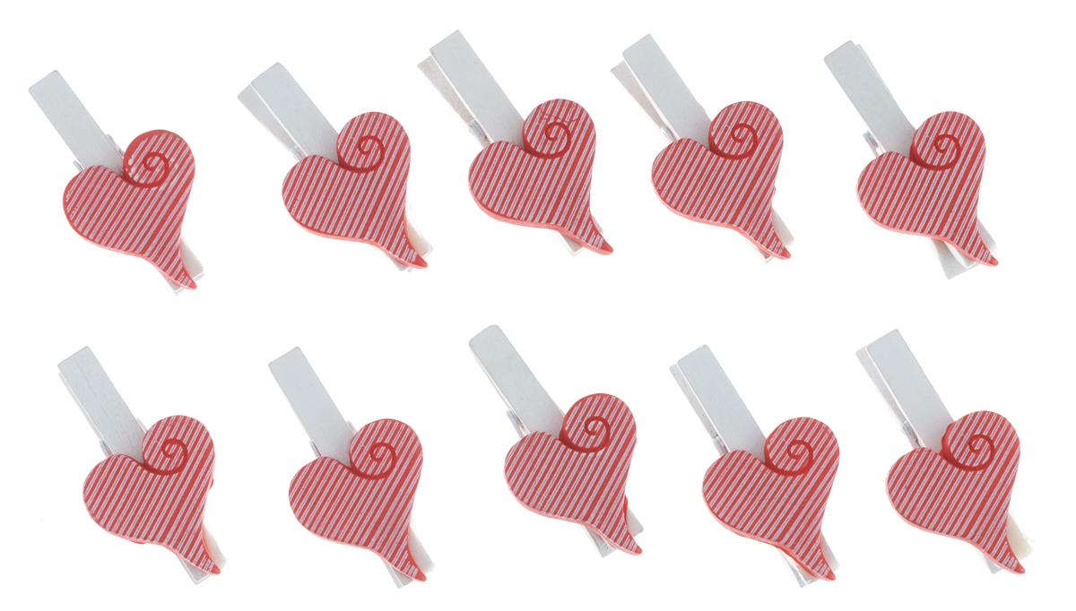 Декоративная прищепка Феникс-презент Сердечки, цвет: красный, белый, 10 шт36934Набор Феникс-презент Сердечки состоит из 10 декоративных украшений на прищепке, изготовленных из полирезина и дерева. Изделия станут прекрасным дополнением к оформлению вашего интерьера. Они используются для развешивания стикеров на веревке, маленьких игрушек, а оригинальность и веселые цвета прищепок будут радовать глаз и поднимут настроение. Длина прищепки: 4,5 см. Размер декоративной части прищепки: 2,5 см х 3 см.