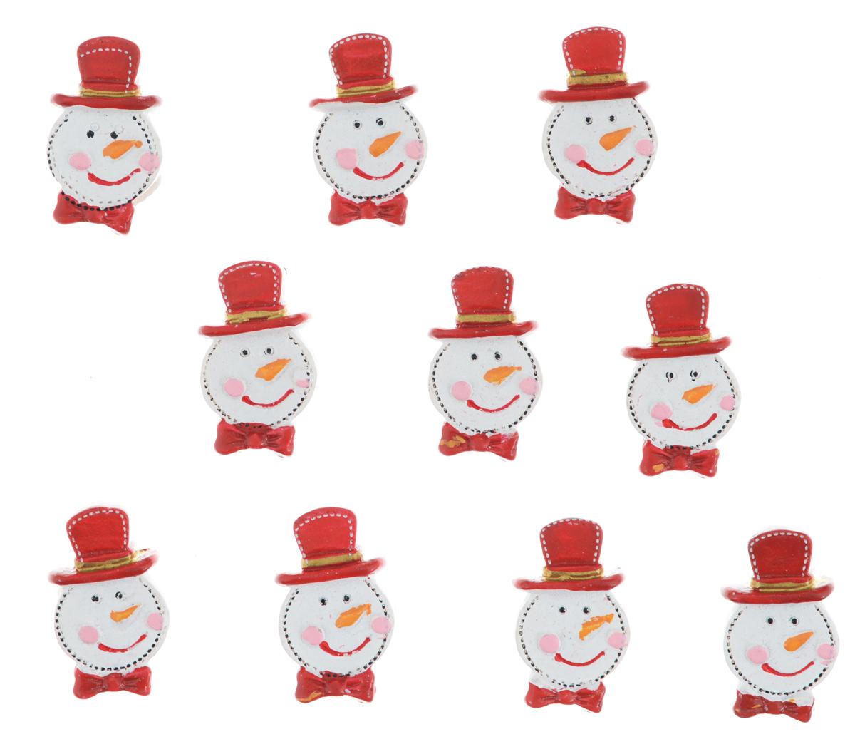 Набор декоративных украшений Lunten Ranta Снеговик в шляпе, на стикере, цвет: белый, красный, 10 шт63577_3Декоративные украшения Lunten Ranta Снеговик в шляпе изготовлены из полирезина и прекрасно подойдут для декора любой поверхности. Их можно использовать для украшения фотоальбомов, подарков, конвертов и многого другого. В наборе - 10 украшений, которые крепятся к поверхности благодаря бумаге на клейкой основе с обратной стороны изделия. Творчество, рукоделие способно приносить массу приятных эмоций не только человеку, который этим занимается, но и его близким, друзьям, родным. Размер украшения: 3 см х 1.7 см х 0,8 см.