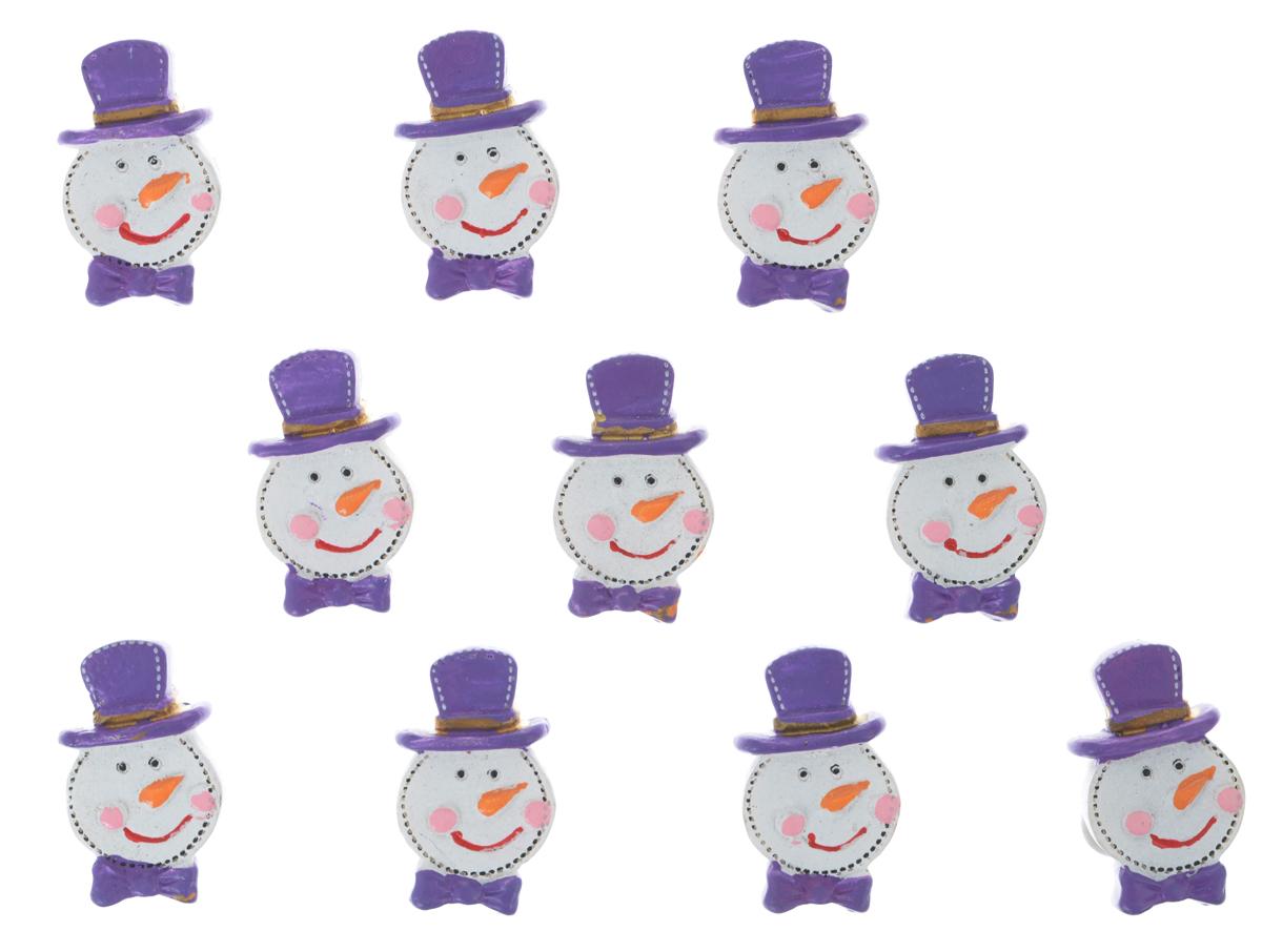 Декоративное украшение Lunten Ranta Снеговик в шляпе, на стикере, цвет: фиолетовый, белый, 3 см х 1,7 см, 10 шт63577_фиолетовыйДекоративное украшение Lunten Ranta Снеговик в шляпе выполнено из полирезина в виде забавного снеговика. В наборе 10 штук. Обратная сторона фигурок оснащена клейким стикером. Такой набор прекрасно подойдет для декора подарков и интерьера в преддверии Нового года.