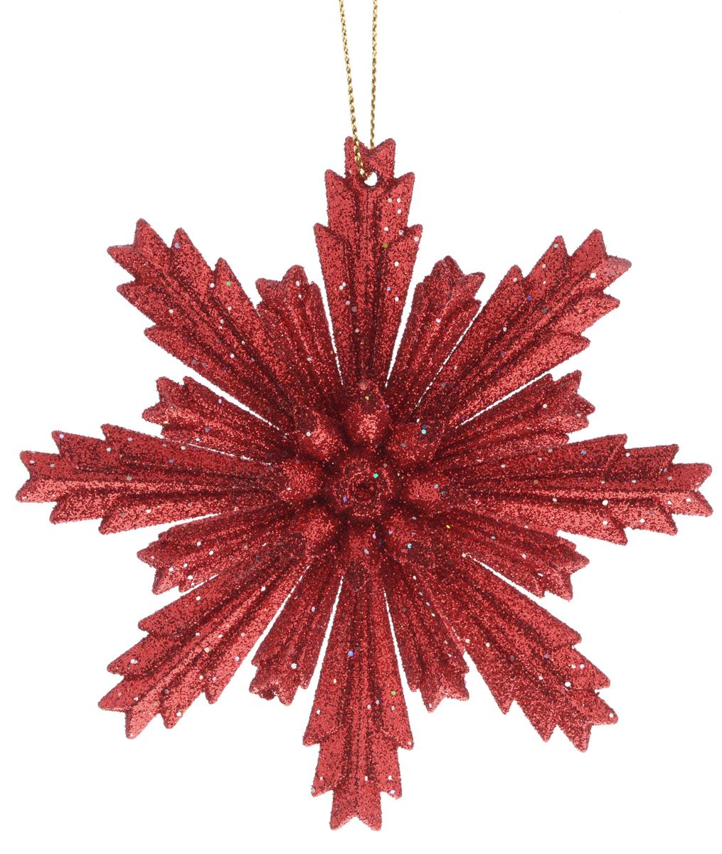 Новогоднее подвесное украшение Феникс-презент Снежинка, цвет: красный, диаметр 11 смФ21-1638_красныйПодвесное украшение Феникс-презент Снежинка, выполненное из пластика, прекрасно подойдет для праздничного декора вашей ели. Оригинальное новогоднее украшение в виде снежинки оформлено блестками. С помощью специальной текстильной петельки его можно повесить в любом понравившемся вам месте. Но удачнее всего такая игрушка будет смотреться на праздничной елке. Елочная игрушка - символ Нового года и Рождества. Она несет в себе волшебство и красоту праздника. Создайте в своем доме атмосферу веселья и радости, украшая новогоднюю елку нарядными игрушками, которые будут из года в год накапливать теплоту воспоминаний.