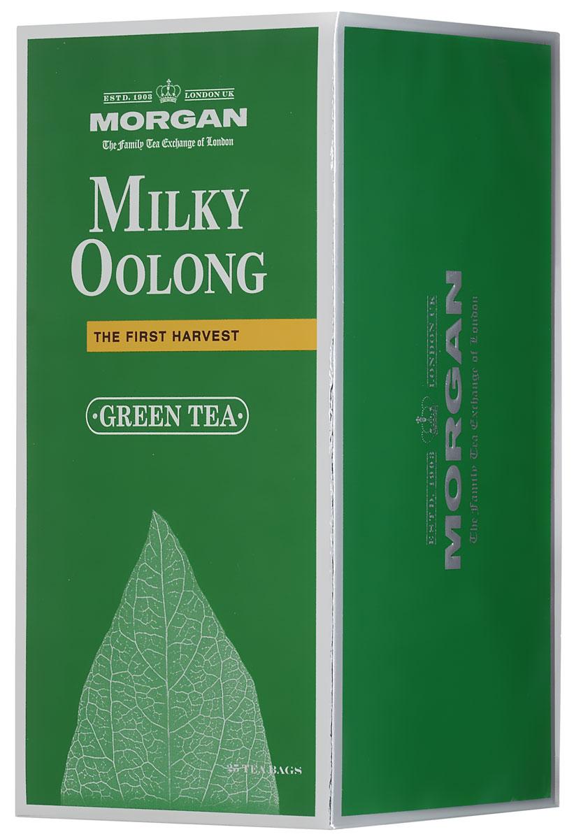 Morgan Milky Oolong чай зеленый в пакетиках, 25 шт4607141338946Чай Morgan Milky Oolong гармонично совмещает в себе освежающий аромат зеленого чая Улун с оттенками молока в длительном послевкусии. Древние китайцы считали улун источником жизненной энергии. Улун - вершина чайной культуры Китая. Благодаря своему отборному качеству, неповторимому вкусу и древней истории он является одним из самых известных сортов чая, выращиваемых на знаменитых китайских плантациях.