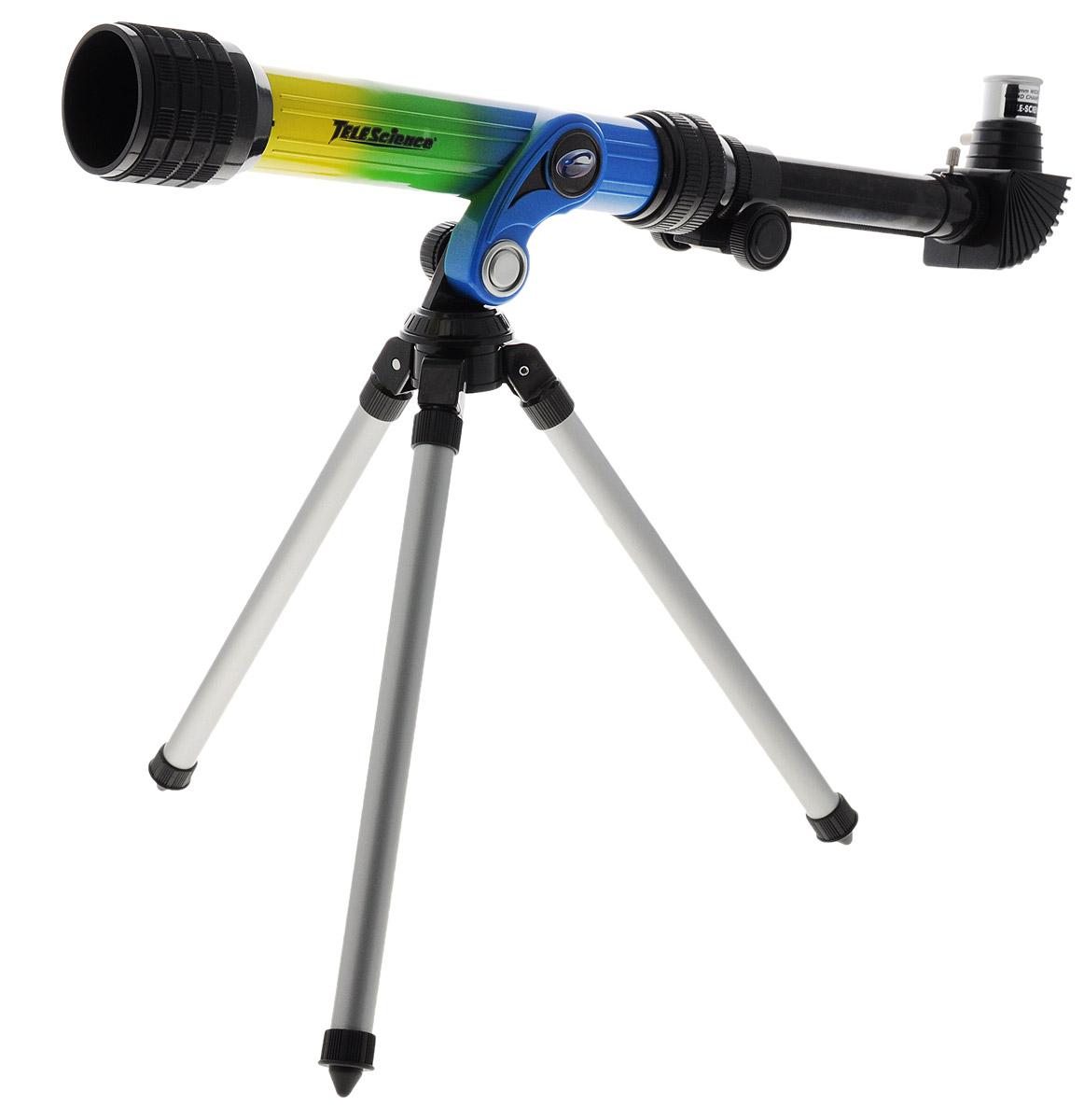 ABtoys Телескоп со штативом TeleScience цвет желтый зеленый синий32003Телескоп со штативом ABtoys TeleScience - это замечательный подарок для юных любителей звезд. Специальный окуляр позволяет наблюдать большую площадь объекта при одинаковом увеличении. Благодаря высокому качеству изображения и штативу, входящему в комплект, телескоп поможет ребенку совершить первые звездные прогулки и осознать, насколько велик окружающий мир. Фокусное расстояние: 400 мм. Окуляр: 20 мм - 4 мм. Диаметр объектива: 30 мм.