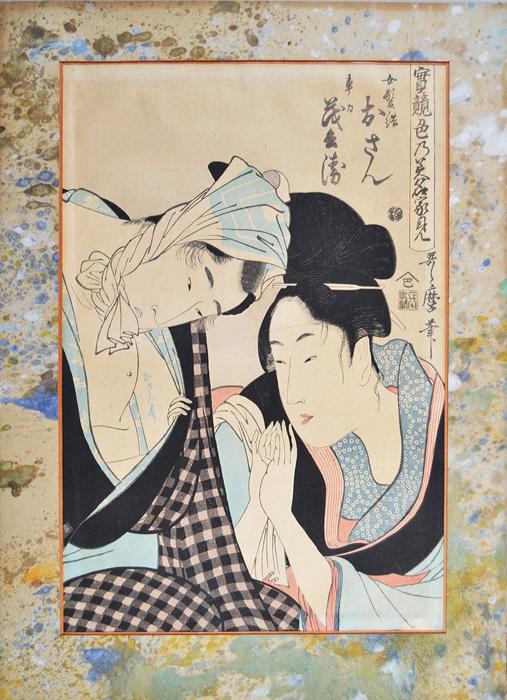 Китагава Утамаро. Гравюра Осан и Мохей. Укиё-э. Япония, 1798-1799 ггАККААГравюра Осан и Мохей. Япония, 1798-1799 гг. Автор - Китагава Утамаро, японский художник, один из крупнейших мастеров жанра укиё-э. Гравюра заключена в оригинальное паспарту. Размер паспарту 32,5 х 45,5 см. Размер окна 24 х 36,5 см. Сохранность хорошая, без утрат. В правом верхнем углу - иероглифические надписи и печати, сделанные на доске. Осан и Мохей - несчастные влюбленные, персонажи пьесы традиционного японского театра Кабуки.
