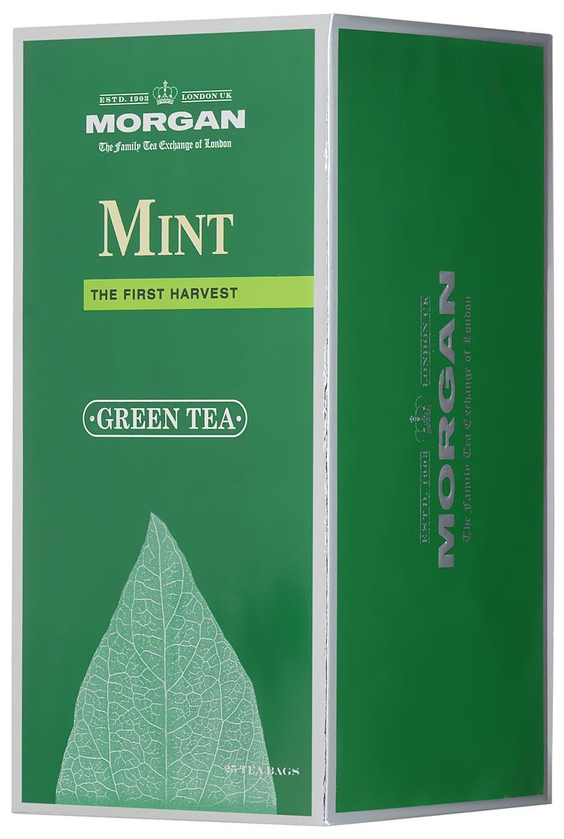 Morgan Mint чай зеленый в пакетиках, 25 шт4607141334320Отборный крупнолистовой зеленый чай в сочетании с листиками перечной мяты прекрасно освежит и придаст сил в течение дня. Ароматный чай станет прекрасным спутником вечернего чаепития или обеденного перерыва!