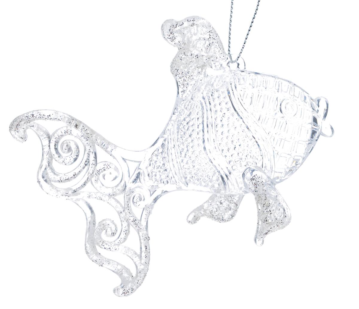 """Новогоднее подвесное украшение Феникс-Презент """"Рыбка"""", 8,5 см х 10,5 см"""
