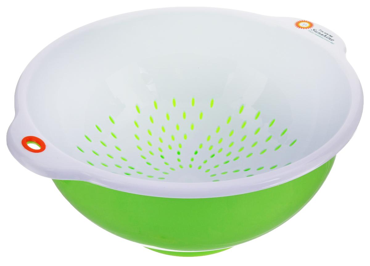 Дуршлаг Oriental Way, с миской, цвет: белый, салатовый, диаметр 25 см