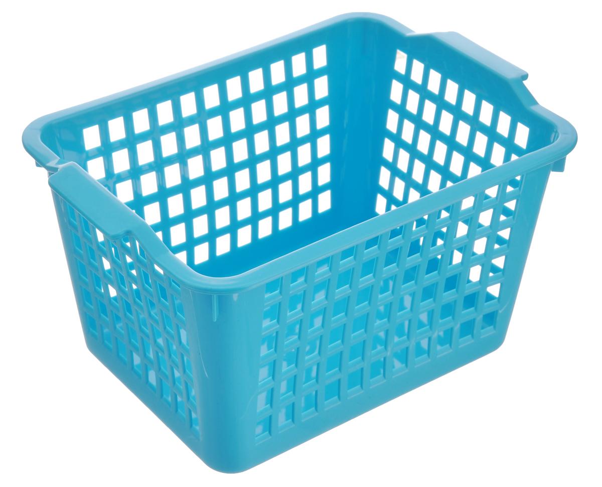 Корзинка универсальная Econova, цвет: голубой, 21 см х 14,6 см х 11,3 см718340_голубойУниверсальная корзинка Econova изготовлена из высококачественного пластика с перфорированными стенками и сплошным дном. Такая корзинка непременно пригодится в быту, в ней можно хранить кухонные принадлежности, аксессуары для ванной и другие бытовые предметы, диски и канцелярию.