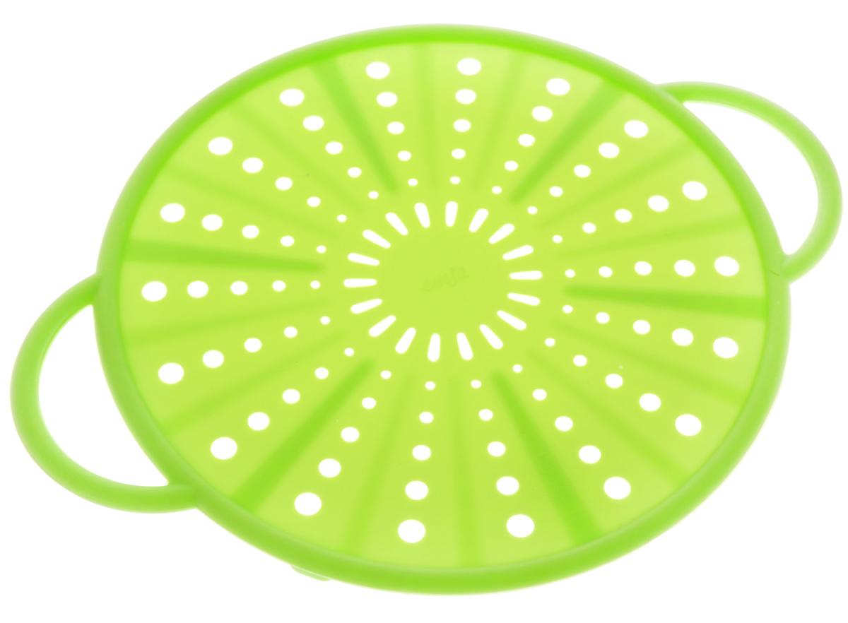 Экран защитный Emsa Smart Kitchen, цвет: салатовый, диаметр 21 см514556Защитный экран Emsa Smart Kitchen, изготовленный из силикона и стали, защитит вас от брызг раскаленного масла при жарке. Изделие также можно использовать в качестве защитной крышки при разогреве пищи в микроволновой печи, а также в качестве подставки для горячих блюд. Можно мыть в посудомоечной машине. Выдерживает температуру до +230°С. Длина изделия (вместе с ручками): 26,5 см.