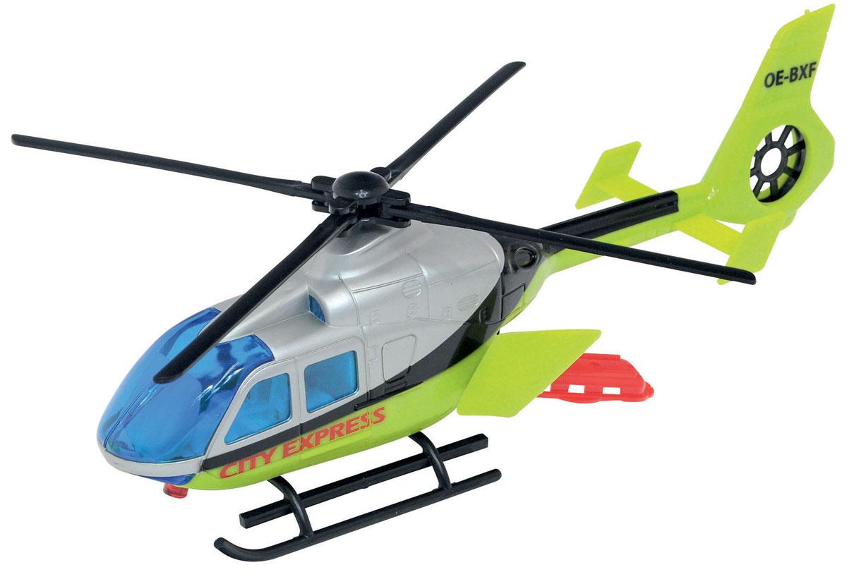 Dickie Вертолет City Express3423_салатовыйЯркий вертолет City Express непременно привлечет внимание малыша. Необходимо потянуть за лебедку и лопасти вертолета начинают вращаться. Дверки грузового отсека легко открываются. Модель выполнена из высококачественного пластика. Порадуйте своего малыша таким замечательным подарком!
