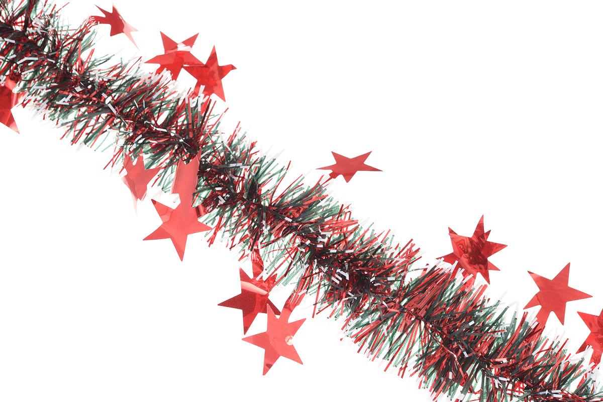 Мишура новогодняя Euro House Звезды, цвет: красный, белый, черный, диаметр 7 см, длина 200 смЕХ7417_красныйНовогодняя мишура Euro House Звезды, выполненная из ПЭТ (полиэтилентерефталата), поможет вам украсить свой дом к предстоящим праздникам. А новогодняя елка с таким украшением станет еще наряднее. Мишура армирована, то есть имеет проволоку внутри и способна сохранять придаваемую ей форму. Новогодней мишурой можно украсить все, что угодно - елку, квартиру, дачу, офис - как внутри, так и снаружи. Можно сложить новогодние поздравления, буквы и цифры, мишурой можно украсить и дополнить гирлянды, можно выделить дверные колонны, оплести дверные проемы.