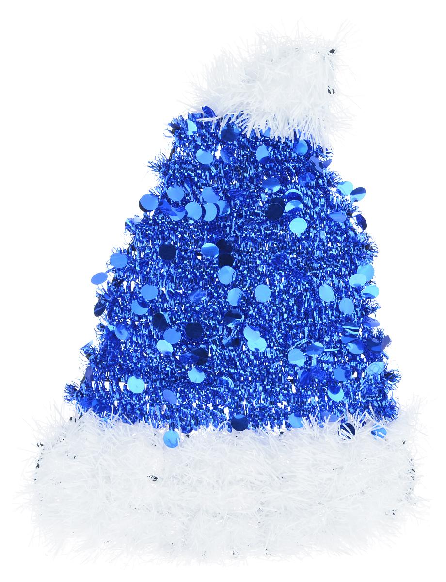 Новогоднее декоративное украшение EuroHouse Колпак, цвет: синий, белый, 26 х 34 смЕХ7430_синийУкрашение EuroHouse Колпак имеет прочный пластиковый каркас, декорированный мишурой. Декоративный колпак дополнит интерьер любого помещения, а также может стать оригинальным подарком для ваших друзей и близких. Оформление помещения декоративным украшением создаст праздничную, по-настоящему радостную и теплую атмосферу. Новогодние украшения всегда несут в себе волшебство и красоту праздника. Создайте в своем доме атмосферу тепла, веселья и радости, украшая его всей семьей.