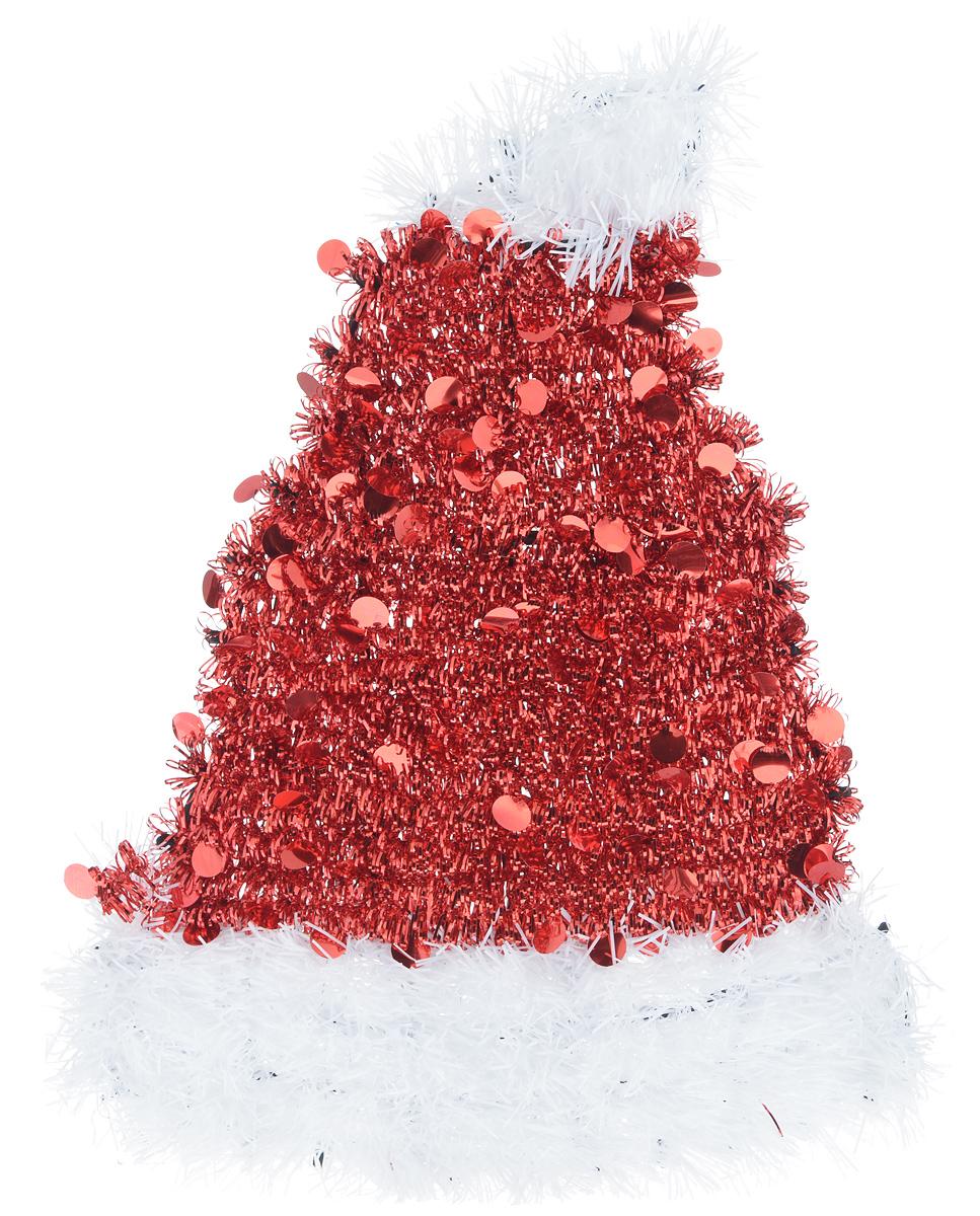 Новогоднее декоративное украшение EuroHouse Колпак, цвет: красный, белый, 26 х 34 смЕХ 7430Украшение EuroHouse Колпак имеет прочный пластиковый каркас, декорированный мишурой. Декоративный колпак дополнит интерьер любого помещения, а также может стать оригинальным подарком для ваших друзей и близких. Оформление помещения декоративным украшением создаст праздничную, по-настоящему радостную и теплую атмосферу. Новогодние украшения всегда несут в себе волшебство и красоту праздника. Создайте в своем доме атмосферу тепла, веселья и радости, украшая его всей семьей.