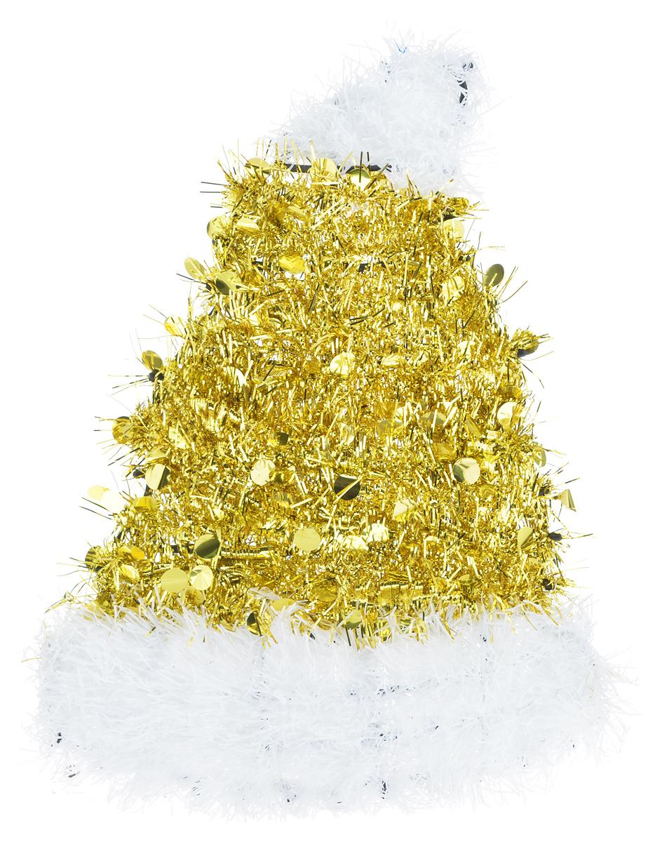 Новогоднее декоративное украшение EuroHouse Колпак, цвет: золотой, белый, 26 см х 34 смЕХ7430_золотойУкрашение EuroHouse Колпак имеет прочный пластиковый каркас, декорированный мишурой. Декоративный колпак дополнит интерьер любого помещения, а также может стать оригинальным подарком для ваших друзей и близких. Оформление помещения декоративным украшением создаст праздничную, по-настоящему радостную и теплую атмосферу. Новогодние украшения всегда несут в себе волшебство и красоту праздника. Создайте в своем доме атмосферу тепла, веселья и радости, украшая его всей семьей.