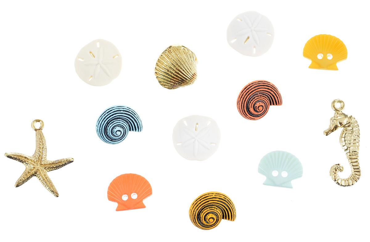 Пуговицы декоративные Buttons Galore & More Beach Treasures, 12 шт7705953Набор пуговиц для творчества и декорирования одежды Buttons Galore & More Beach Treasures изготовлен из высококачественного пластика. В набор входят пуговицы в виде морских ракушек, а также золотистые подвески в виде морского конька и морской звезды. Такие пуговицы подходят для любых видов творчества: скрапбукинга, декорирования, шитья, изготовления кукол, а также для оформления одежды. С их помощью вы сможете украсить открытку, фотографию, альбом, подарок и другие предметы ручной работы. Пуговицы имеют оригинальный и яркий дизайн. Средний диаметр пуговиц: 1,5 см.