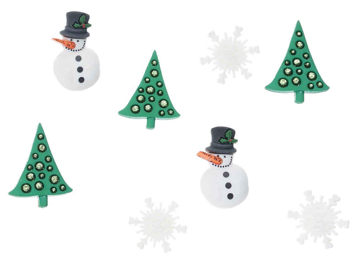 Пуговицы декоративные Dress It Up Канун Рождества, 8 шт7702444Пуговицы декоративные Dress It Up Канун Рождества состоит из 8 декоративных пуговиц, выполненных из цветного пластика в виде елок, снеговиков и снежинок. Такие пуговицы подходят для любых видов творчества: скрапбукинга, декорирования, шитья, изготовления кукол, а также для оформления одежды. С их помощью вы сможете украсить открытку, фотографию, альбом, подарок и другие предметы ручной работы. Пуговицы разных цветов имеют оригинальный и яркий дизайн. Средний размер пуговиц: 3 см х 2 см х 0,3 см.