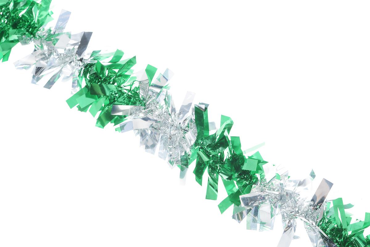 Мишура новогодняя EuroHouse Чудесница, цвет: зеленый, серебристый, диаметр 6 см, длина 200 смЕХ7420_зеленый, серебристыйНовогодняя мишура EuroHouse Чудесница, выполненная из ПЭТ (полиэтилентерефталата), поможет вам украсить свой дом к предстоящим праздникам. А новогодняя елка с таким украшением станет еще наряднее. Мишура армирована, то есть имеет проволоку внутри и способна сохранять придаваемую ей форму. Новогодней мишурой можно украсить все, что угодно - елку, квартиру, дачу, офис - как внутри, так и снаружи. Можно сложить новогодние поздравления, буквы и цифры, мишурой можно украсить и дополнить гирлянды, можно выделить дверные колонны, оплести дверные проемы.