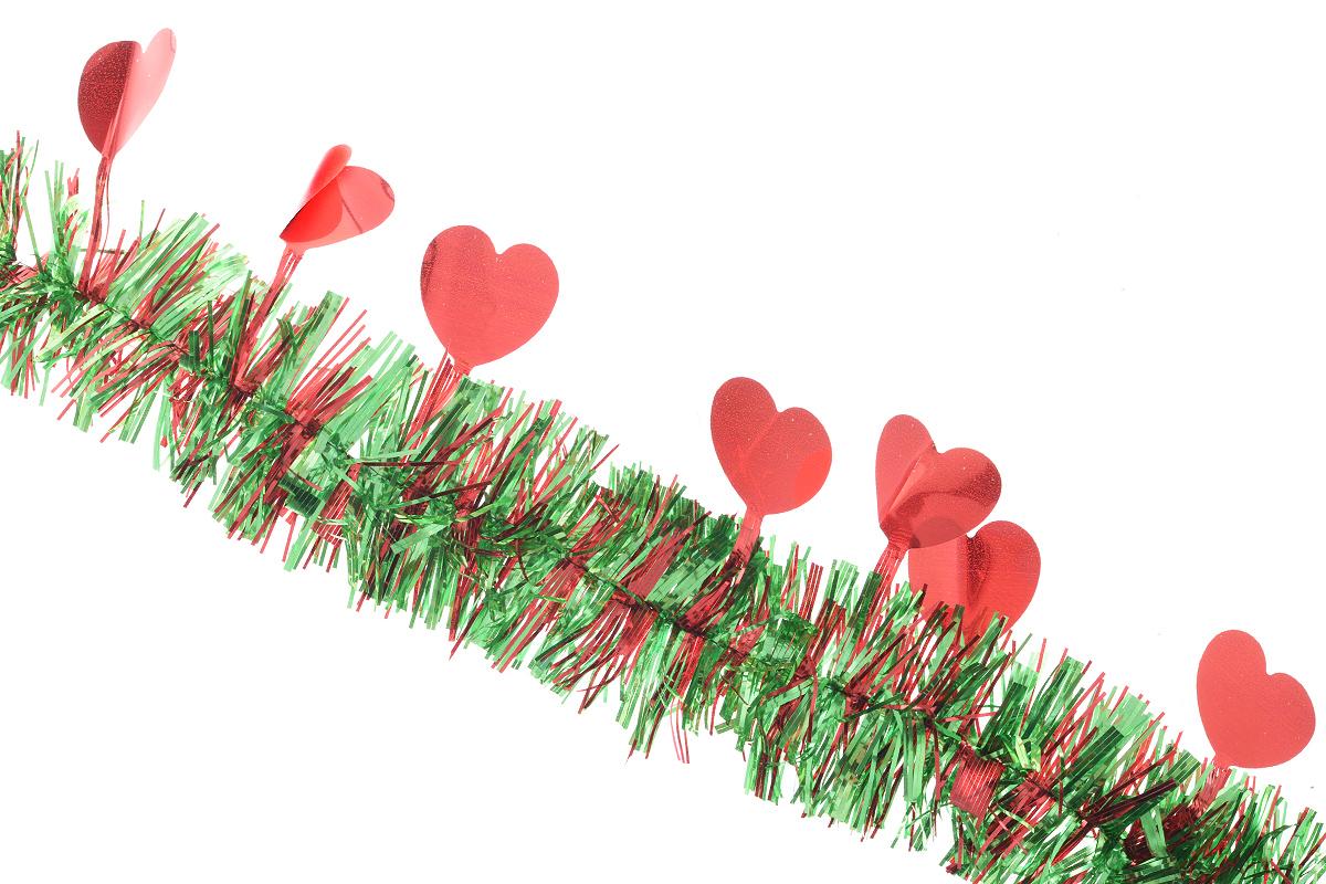 Мишура новогодняя Euro House Сердечки, цвет: красный, зеленый, диаметр 6 см, длина 200 смЕХ 7422Новогодняя мишура EuroHouse Сердечки, выполненная из ПЭТ (полиэтилентерефталата), поможет вам украсить свой дом к предстоящим праздникам. А новогодняя елка с таким украшением станет еще наряднее. Мишура армирована, то есть имеет проволоку внутри и способна сохранять придаваемую ей форму. Новогодней мишурой можно украсить все, что угодно - елку, квартиру, дачу, офис - как внутри, так и снаружи. Можно сложить новогодние поздравления, буквы и цифры, мишурой можно украсить и дополнить гирлянды, выделить дверные колонны, оплести дверные проемы. Новогодняя мишура принесет в ваш дом ни с чем не сравнимое ощущение праздника! Создайте в своем доме атмосферу тепла, веселья и радости, украшая его всей семьей.