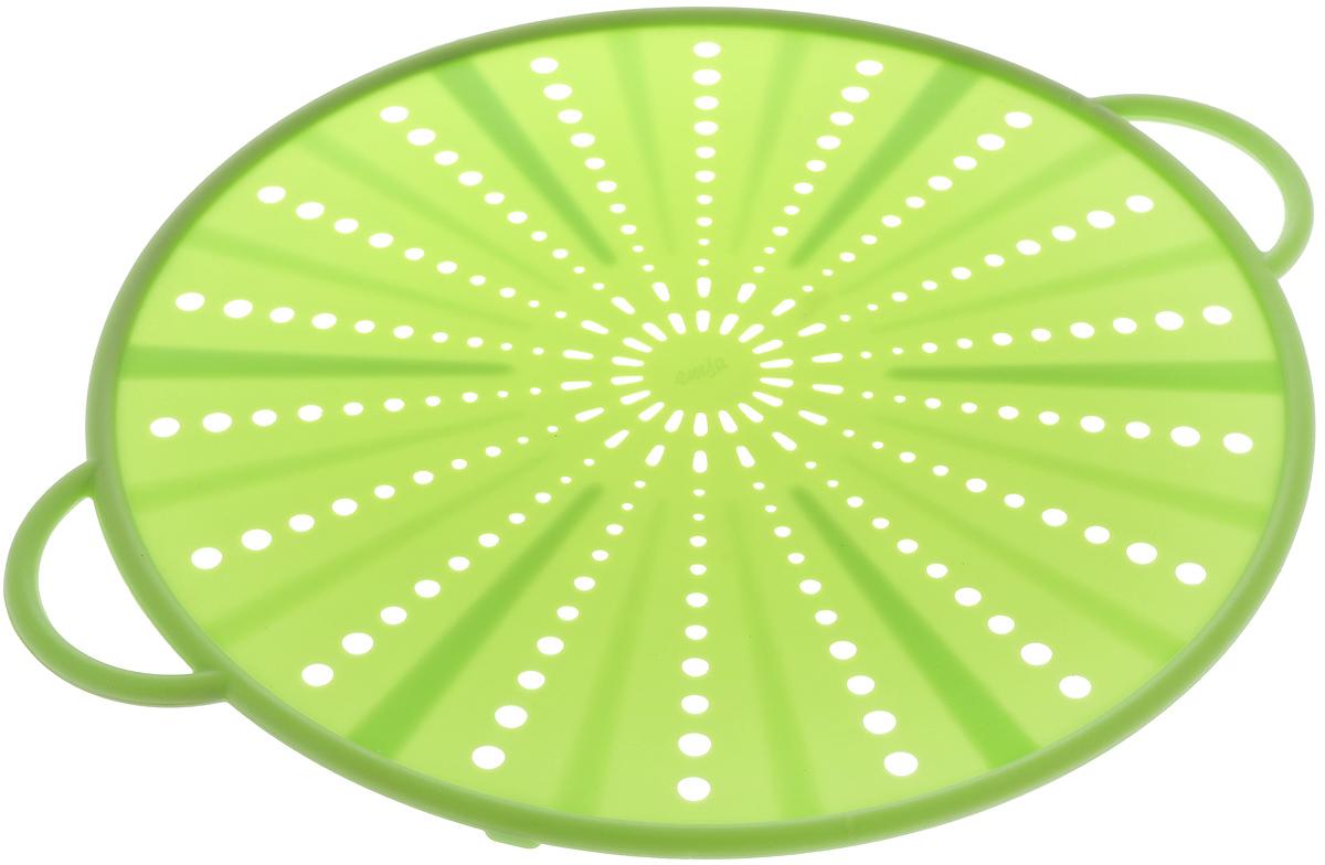 Экран защитный Emsa Smart Kitchen, цвет: салатовый, диаметр 31 см514558Защитный экран Emsa Smart Kitchen, изготовленный из силикона и стали, защитит вас от брызг раскаленного масла при жарке. Изделие также можно использовать в качестве защитной крышки при разогреве пищи в микроволновой печи, а также в качестве подставки для горячих блюд. Можно мыть в посудомоечной машине. Выдерживает температуру до +230°С. Длина изделия (вместе с ручками): 36,5 см.