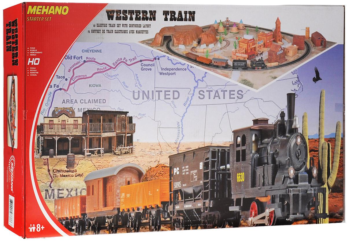 Mehano Железная дорога Western Train с ландшафтомT109Железная дорога Mehano Western Train с ландшафтом - миниатюрная копия товарного поезда. Такая железная дорогая понравится не только детям, но взрослым коллекционерам. В комплект входит все необходимое для создания собственного железнодорожного трека: локомотив, 4 вагона, игровое поле, 9 макетов построек, дорожный знак, холм, 3 конных экипажа, 4 тележки, холм, тотем, водокачка, 4 юрты, 4 палатки, 9 кактусов, 12 элементов забора, а также железнодорожное полотно, включающее в себя 12 радиальных рельс, 2 прямые рельсы, 12 соединительных элементов системы Quick Click, сетевой адаптер, пульт-контроллер, подробную иллюстрированную инструкцию по сборке и управлению железной дорогой. Во время пути поезд минует городские улицы с жилыми и хозяйственными постройками, пригород с зарослями кактуса, глубокий тоннель через высокий горный массив. За паровозом и вагонами следят лошади, запряженные в конные экипажи, и наверное, из каждого окна следит за проезжающим составом невидимая пара...