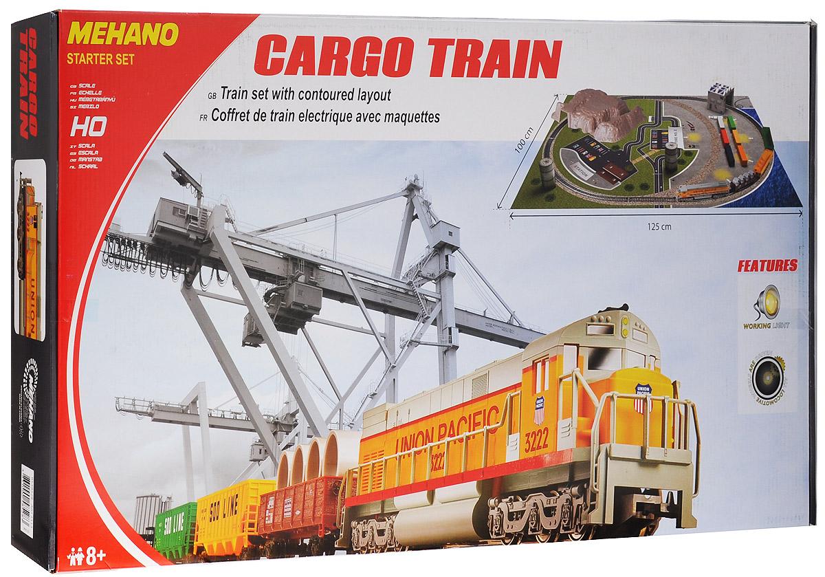Mehano Железная дорога Cargo Train с ландшафтомT113Железная дорога Mehano Cargo Train с ландшафтом - миниатюрная копия товарного поезда. Такая железная дорогая понравится не только детям, но взрослым коллекционерам. В комплект входит все необходимое для создания собственного железнодорожного трека: локомотив, 3 вагона, игровое поле, холм, тоннель, 2 бочки, 6 контейнеров, а также железнодорожное полотно, включающее в себя 12 радиальных рельс, 2 прямые рельсы, 14 соединительных элементов системы Quick Click, сетевой адаптер, пульт-контроллер, подробную иллюстрированную инструкцию по сборке и управлению железной дорогой. Выполненная с уникальной архитектурной точностью и детализацией, модель состава Cargo Train относится к настоящим шедеврам индустрии моделирования. Копия рабочего состава безукоризненно отображает все функциональные возможности и локомотива, и каждой из подвижных платформ, адаптированных для транспортации различных грузов. На пути товарного поезда встречается контрольно-пропускной пункт, башни, стоянка авто,...